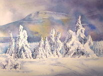 Eis, Eiszeit, Aquarellmalerei, Winter