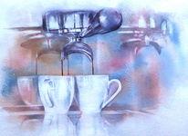 Kaffee, Aquarellmalerei, Siebträger, Tasse
