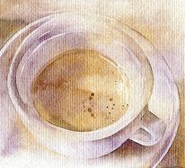 Aquarellmalerei, Espresso, Tasse, Kaffee