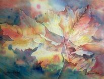 Ahorn ahornblatt, Aquarellmalerei, Herbst, Aquarell