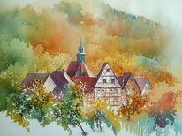 Landschaft, Oberfranken, Aquarellmalerei, Herbst