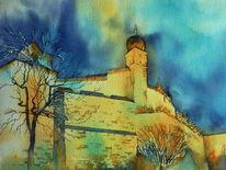 Burg, Aquarellmalerei, Fränkische krone, Festung