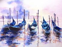Kontrast, Italien, Gondel, Blau