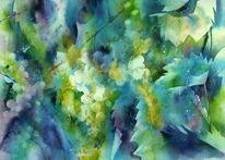Herbst, Aquarellmalerei, Rebe, Weintrauben