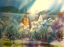 Kirche, Aquarellmalerei, Großheirat, Coburg