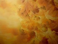 Herbst, Laub, Dekoration, Aquarellmalerei