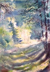 Aquarellmalerei, Thüringen, Herbst, Thüringer wald
