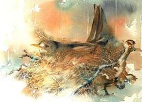 Vogel, Amsel, Tiere, Aquarellmalerei