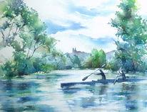 Reundorf, Aquarellmalerei, Kanu, Oberfranken