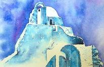 Griechenland, Kirche, Aquarellmalerei, Paraportiani