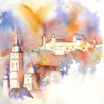 Veste coburg, Bayer, Aquarellmalerei, Moritzkirche