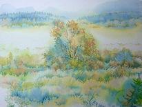 Nebel, Aquarellmalerei, Dezente, Schwarzes moor