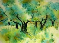 Ölmalerei, Aquarellmalerei, Olivenbaum, Kreta