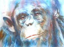 Tiere, Schimpanse, Aquarellmalerei, Menschenaffen