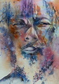 Gesicht, Aquarellmalerei, Rasta, Portrait