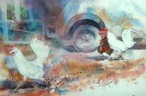 Huhn, Aquarellmalerei, Bauernhof, Hühnerhof