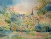Herbst, Ahorn, Schloss, Aquarellmalerei