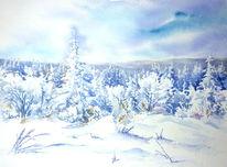 Schneebedeckt, Schnee, Aquarellmalerei, Wald