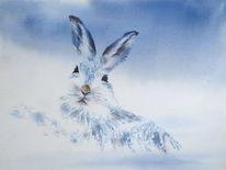 Bunny, Aquarellmalerei, Schnee, Schneehase