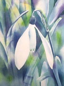 Schneeglöckchen, Aquarellmalerei, Blumen, Winter