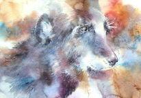 Portrait, Seele, Aquarellmalerei, Hund