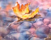 Aquarellmalerei, Blätter, Laub, Ahorn