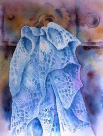 Spitze, Aquarellmalerei, Stricken, Blau