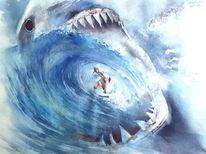 Wasser, Mick fanning shark, Aquarellmalerei, Surfen