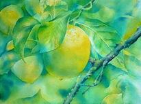 Grün, Aquarellmalerei, Sommer, Zitrone