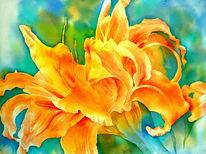 Blumen, Aquarellmalerei, Lilie, Daylily