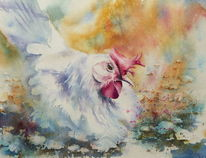 Aquarellmalerei, Huhn, Henne, Hühnerhof