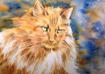 Haustier, Aquarellmalerei, Katze, Tiger
