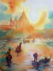 Sonnenuntergang, Aquarellmalerei, Gondel, Venedig