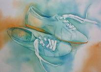 Aquarellmalerei, Schuhkauf, Schuhe, Traumpaar