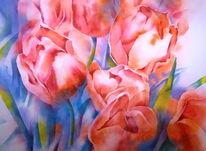 Aquarellmalerei, Frühling, Blumen, Tulpen
