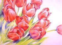 Blumen, Strauß, Tulpen, Aquarellmalerei