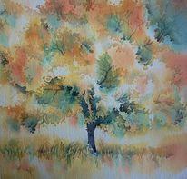 Baum, Frost, Aquarellmalerei, Laub