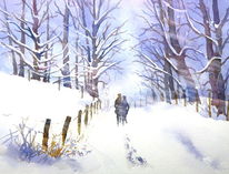 Winter, Aquarellmalerei, Wald, Spaziergang