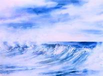 Aquarellmalerei, Meer, Gischt, Wasser