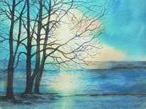 Ammersee, Winter, Aquarellmalerei, See