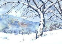 Thüringen, Schneebedeckt, Thüringer wald, Aquarellmalerei