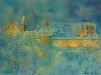 Nacht, Aquarellmalerei, Veste, Winter