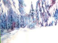 Rhön, Schnee, Wald, Aquarellmalerei