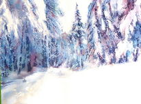 Simmelsberg, Aquarellmalerei, Rhön, Schnee