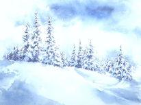 Schneebedeckt, Fichte, Winter, Aquarellmalerei