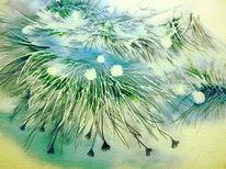 Aquarellmalerei, Wollgras, Wal, Gras