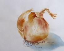Aquarellmalerei, Zwiebeln, Schale, Nahrung