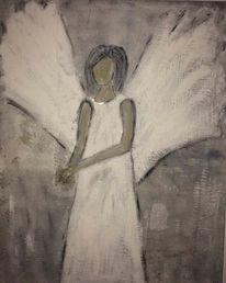 Silber, Engel, Acrylmalerei, Grau