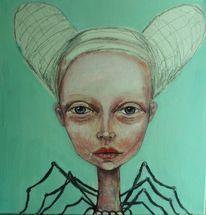 Portrait, Insekten, Malerei, Skurril