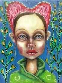 Mädchen, Figurativ, Kleinformatig, Portrait